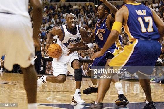 Basketball Washington Wizards Michael Jordan in action vs Los Angeles Lakers Kobe Byrant Washington DC 11/8/2002