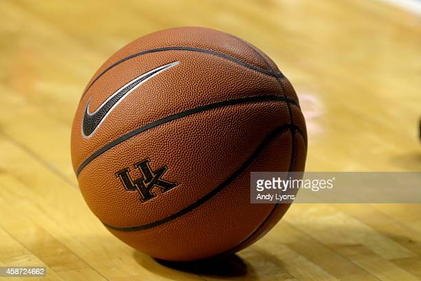 A basketball with a Kentucky Wildcats logo sits on the floor during the game against the Georgetown College Tigers at Rupp Arena on November 9 2014...