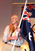 Basketballer Lauren Jackson looks on after being announced as the Australian flag bearer at the Australian Olympic Committee 2012 Olympic Games team...