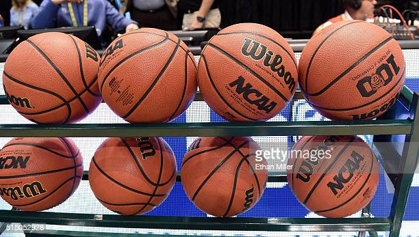 Basketballs are shown in a ball rack before a semifinal game of the Pac12 Basketball Tournament between the Arizona Wildcats and the Oregon Ducks at...