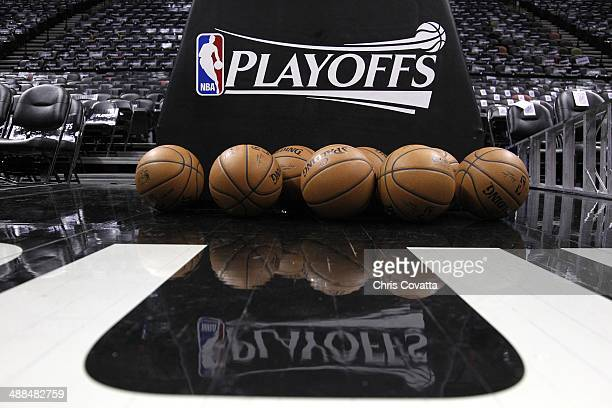 Basketballs sit on the court before the Portland Trail Blazers play the San Antonio Spurs in Game One of the Western Conference Semifinals during the...