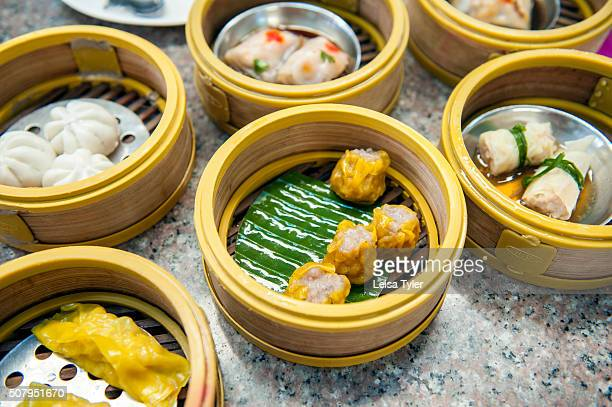Baskets of dim sum a traditional breakfast in Trang in southern Thailand a town with a large population of Chinese