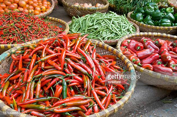 Baskets Of Red Chilli Peppers In Hanoi, Vietnam