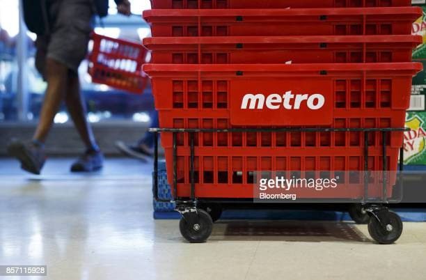 Baskets sit stacked inside a Metro Inc grocery store in Toronto Ontario Canada on Monday Oct 2 2017 Canadian grocer Metro Inc agreed to buy pharmacy...