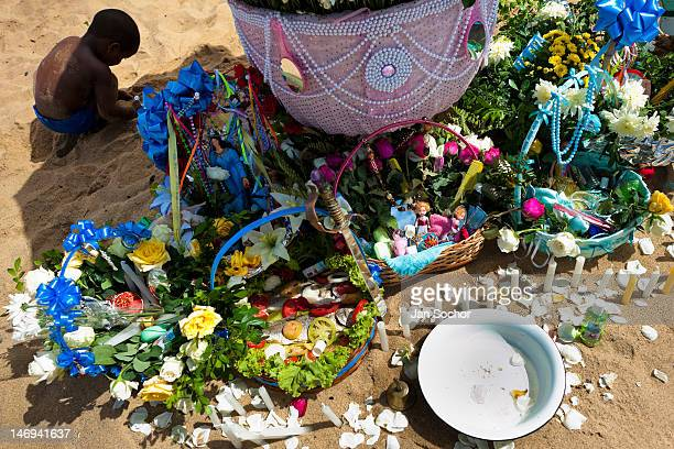 Baskets with flowers and other offerings seen on the beach during the festival of Yemanjá the goddess of the sea on 2 February 2012 in Salvador Bahia...
