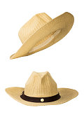 Traditional basketwork hat isolated on white background