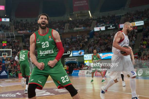 Baskonia's Georgian forward Tornike Shengelia celebrates a score during the Turkish Airlines Euroleague Basketball Playoff 3rd game between Baskonia...