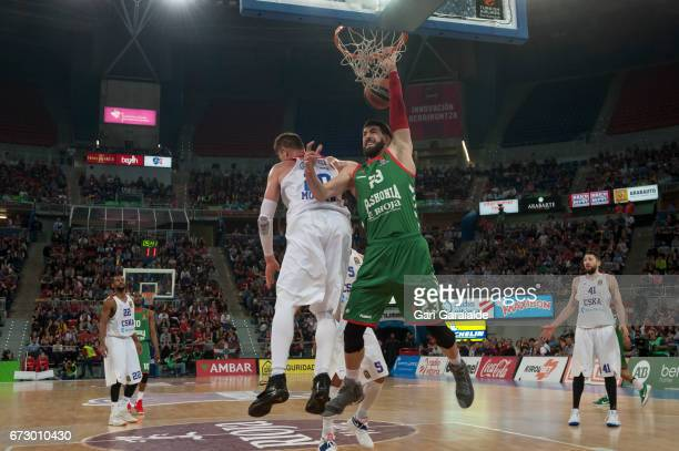 Baskonia's Georgian forward Tornike Shengelia drives to the basket during the Turkish Airlines Euroleague Basketball Playoff 3rd game between...