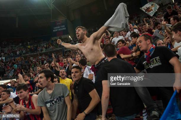 Baskonia's supporters cheer their team during the Turkish Airlines Euroleague Basketball Playoff 3rd game between Baskonia Vitoria Gasteiz and CSKA...
