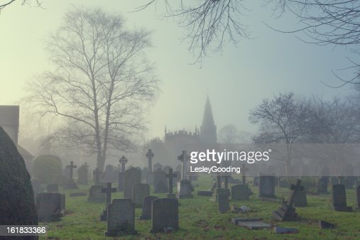 Baslow Church and Graveyard in the fog