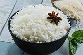 Bowl of cooked basmati rice /   Basmati rice bowl, selective focus