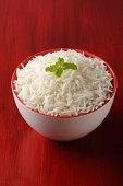 basmati rice in a brass bowl, cooked basmati rice,