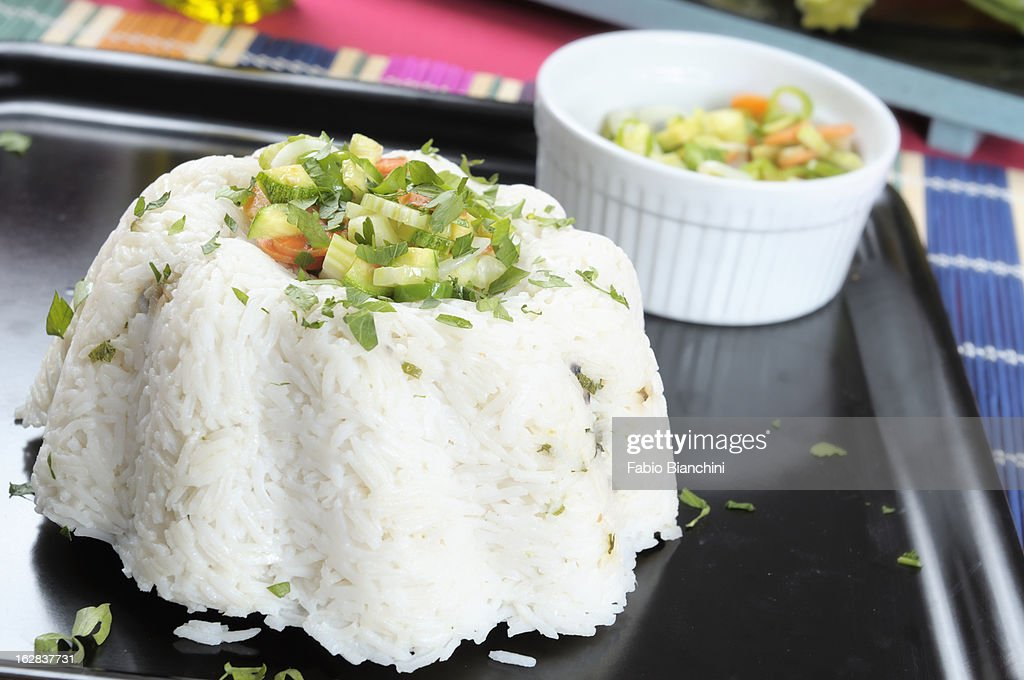 Basmati rice pilaf with vegetables : Stock Photo
