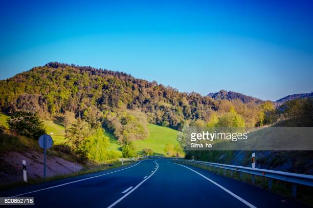 Basque country. The municipal road between the cities of Vitoria-Gasteiz and Balmaseda. Spain.