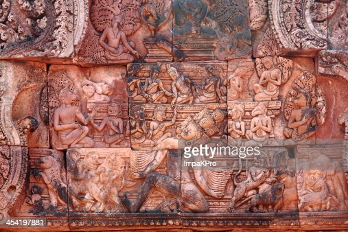 Bas-relief at Banteay srei : Stock Photo