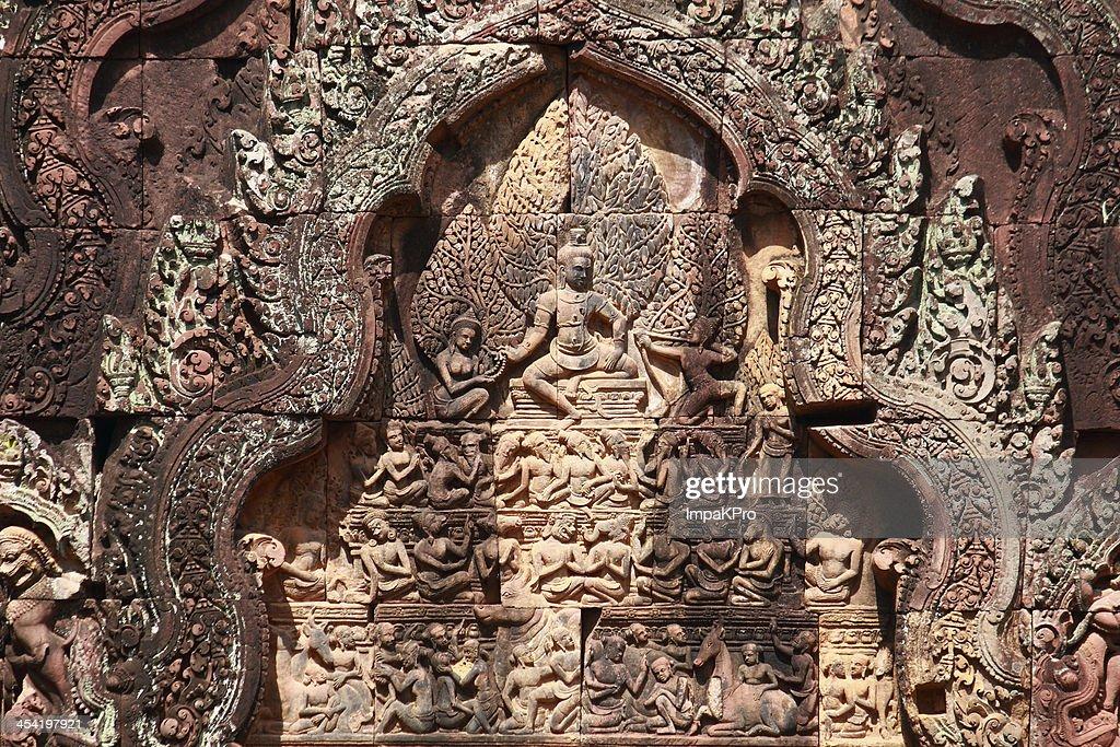 Baixo-relevo de Banteay srei : Foto de stock