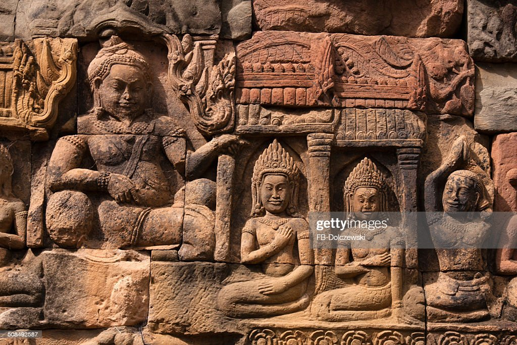 Bas-relief at the Terrace of the Leper King, Elephant Terrace, Angkor Thom, Siem Reap, Cambodia