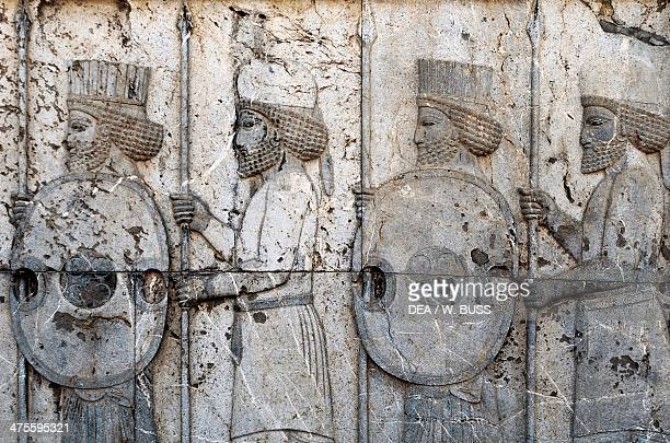 Basrelief depicting Mede and Persian guards Apadana Persepolis Iran Achaemenid civilisation 6th5th century BC Detail