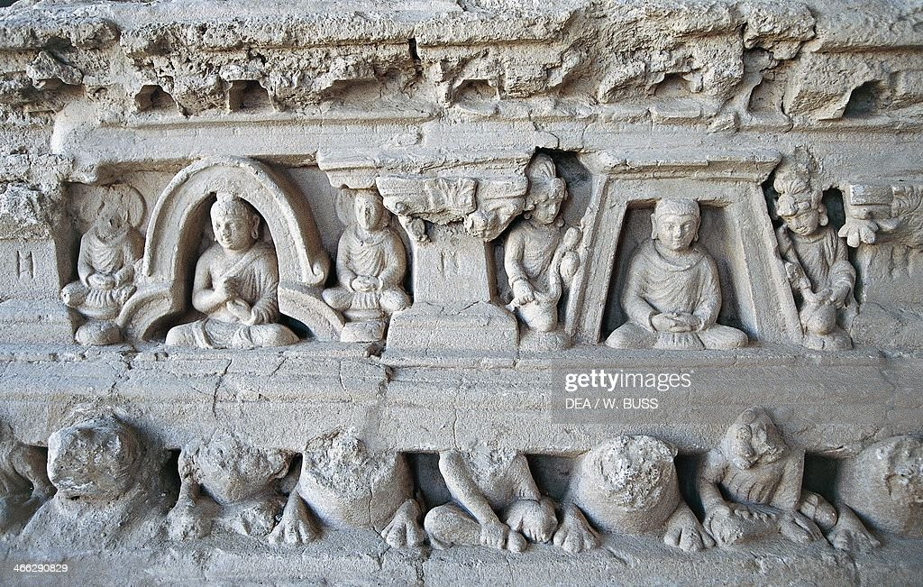 Basrelief depicting scenes from the life of Buddha decorations of a stupa Jaulian monastery Taxila 5th century BC