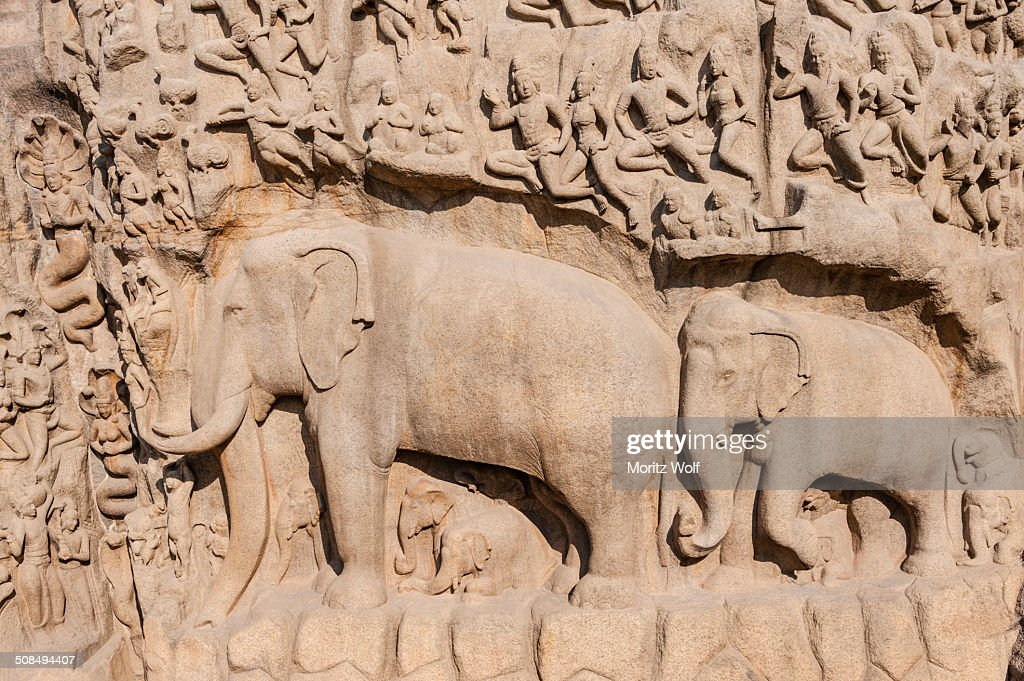 Bas-relief Descent of the Ganges, Mahabalipuram, Mamallapuram, Tamil Nadu, Kanchipuram, India