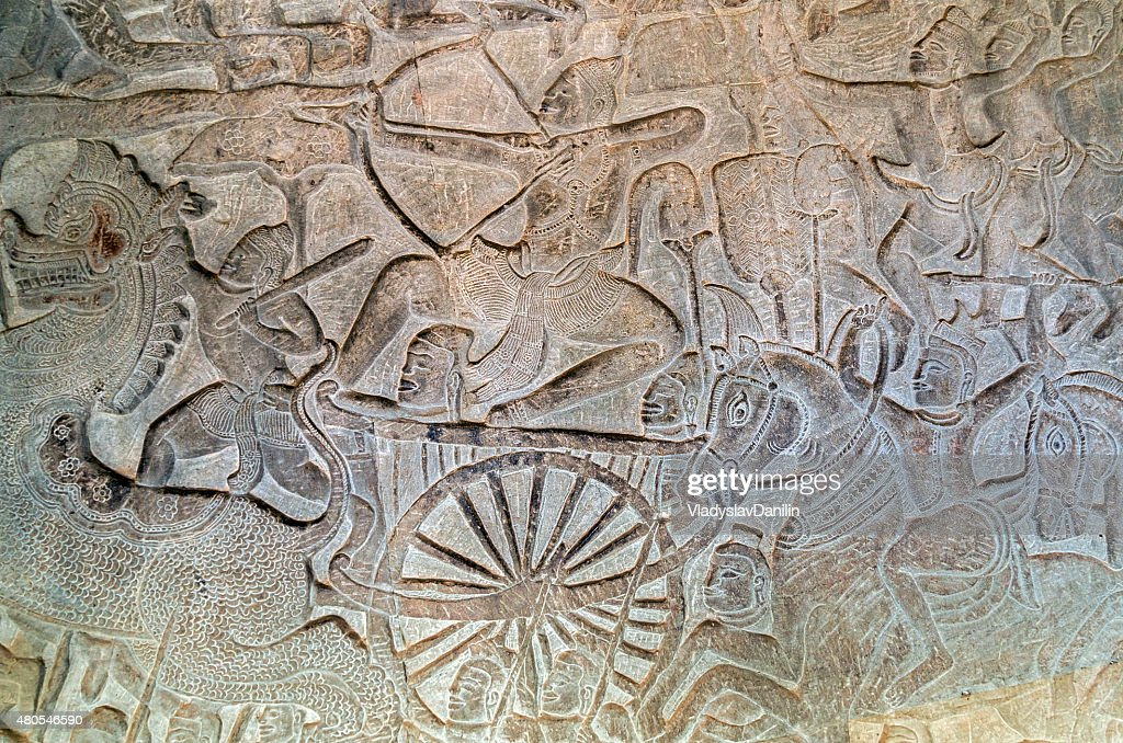 bas-relief of Angkor Wat, Siem Reap, Cambodia. : Stock Photo
