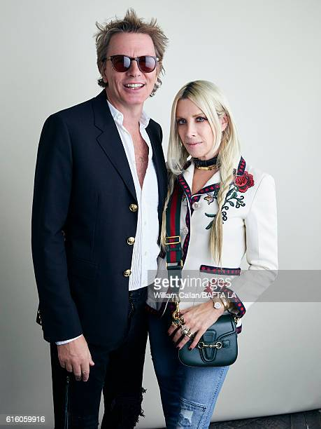 Bass guitarist and cofounder of new wave band Duran Duran John Taylor and Gela Nash pose for a portrait BBC America BAFTA Los Angeles TV Tea Party...