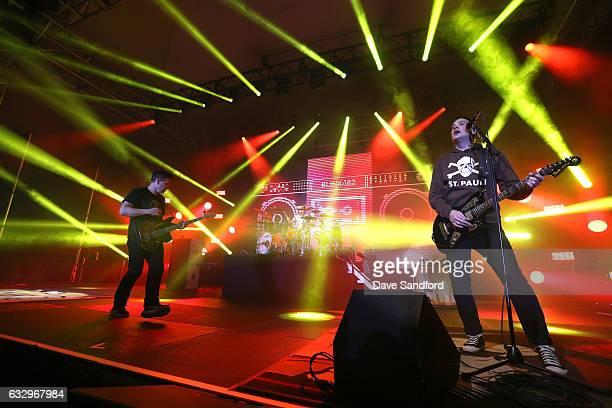 Bass guitarist Mark Hoppus drummer Travis Barker and guitarist Matt Skiba of the band Blink182 perform at the 2017 NHL AllStar Saturday Night Party...