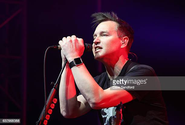 Bass guitarist Mark Hoppus of the band Blink182 performs at the 2017 NHL AllStar Saturday Night Party at the Event Deck LA Live on January 28 2017 in...