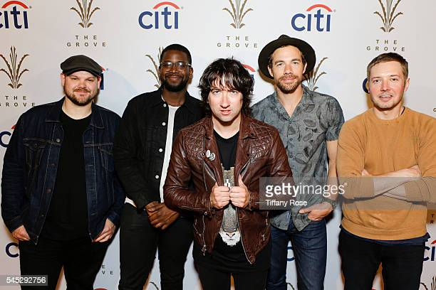 Bass guitarist Mike Retondo drummer De'Mar Hamilton frontman Tom Higgenson guitarist Tim Lopez and guitarist Dave Tirio of the band Plain White T's...