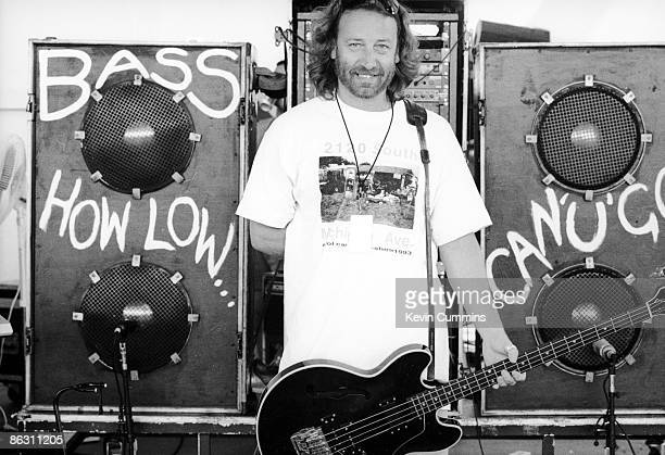 Bass guitarist Peter Hook of English rock group New Order with some of his equipment on stage at the Kingswood Music Theatre in the Canada's...