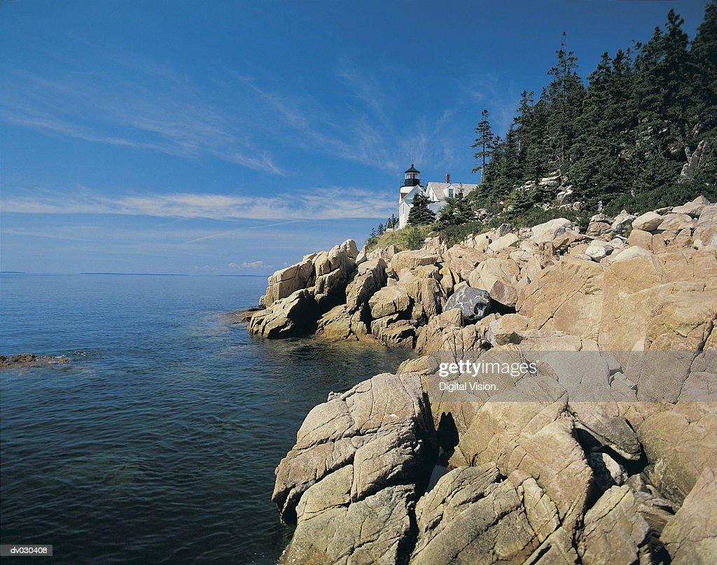 Bass Harbor Lighthouse, Acadia National Park, Maine, USA : Stock Photo