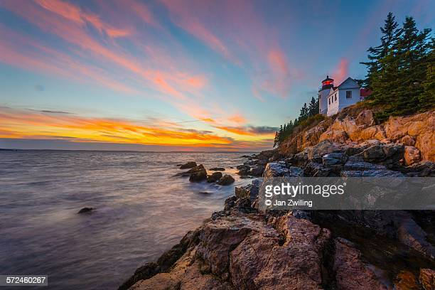 Bass Harbor Lighthouse in Acadia, Maine, at sunset
