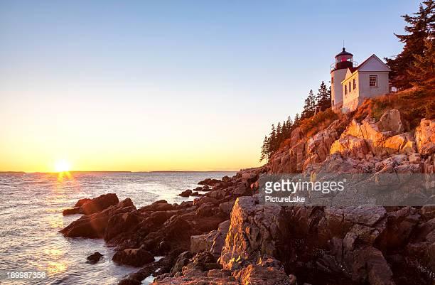 Bass Harbor lighthouse sunset, Acadia National Park, Maine