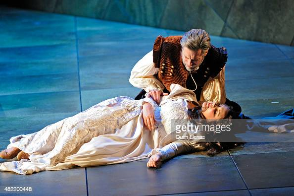 Bass John Relyea and soprano Virginia Tola perform during the dress rehearsal of the opera 'Don Carlo' by Giuseppe Verdi on stage at the Auditorium...