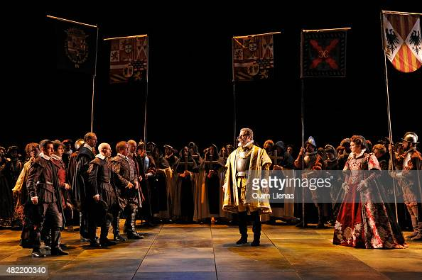 Bass John Relyea soprano Virginia Tola and cast perform during the dress rehearsal of the opera 'Don Carlo' by Giuseppe Verdi on stage at the...