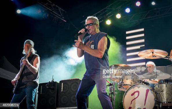 Bass of the band 'Deep Purple' Roger Glover singer Ian Gillan and drummer Ian Paice perform on stage at Nice Jazz Festival on July 10 2014 in Nice...