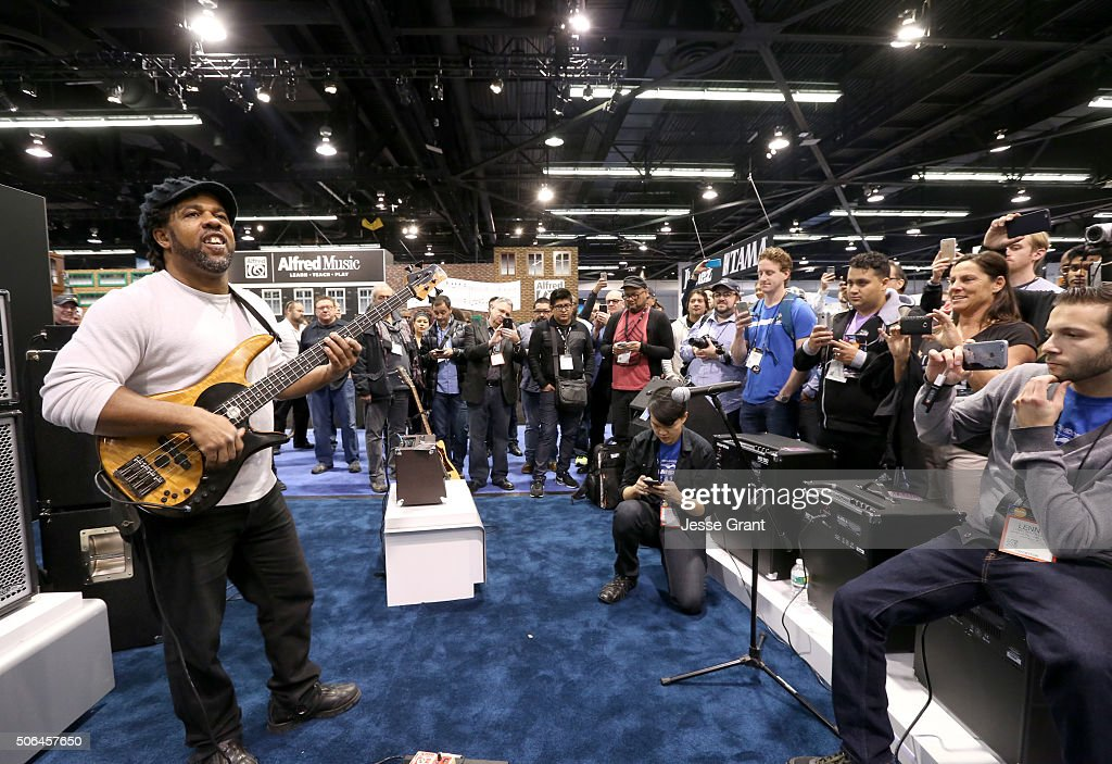 Bass palyer Victor Wooten poses for a picture during day 3 of the 2016 NAMM Show at the Anaheim Convention Center on January 23 2016 in Anaheim...
