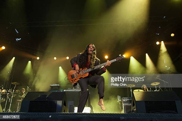 Bass player Ashish Vyas of Thievery Corporation performs at the Squamish Valley Music Festival on August 10 2014 in Squamish Canada