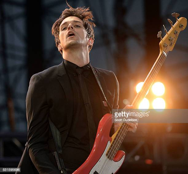 Bass player Dallon Weekes of the band Panic at the Disco and the Brobecks performs onstage during KROQ's Weenie Roast at Irvine Meadows Amphitheatre...