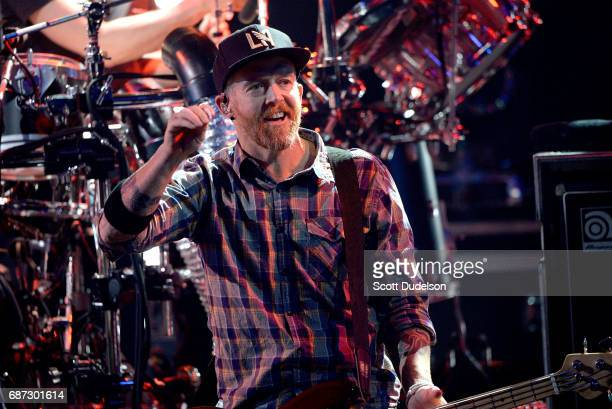 Bass player Dave Farrell of Linkin Park performs onstage during the band's 'One More Light' album release party at the iHeartRadio Theater on May 22...