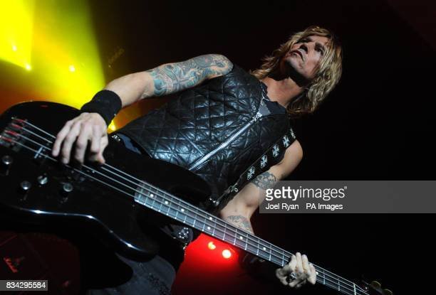 Bass Player Duff McKagan of Velvet Revolver performing in concert at Brixton Academy in London