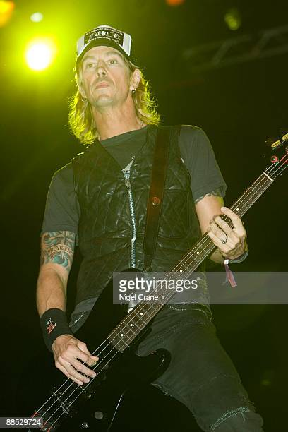Bass player Duff McKagan of Velvet Revolver performs on stage at the Desert Rock Festival held in Dubai Festival City on March 8 2008