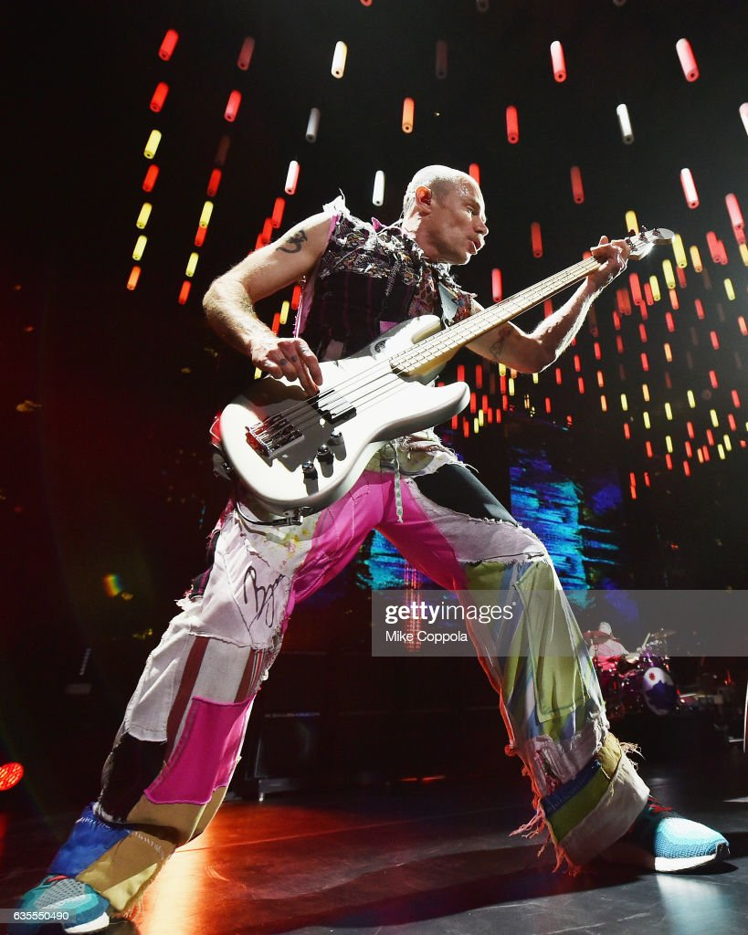 red hot chili peppers in concert - new york city photos and images
