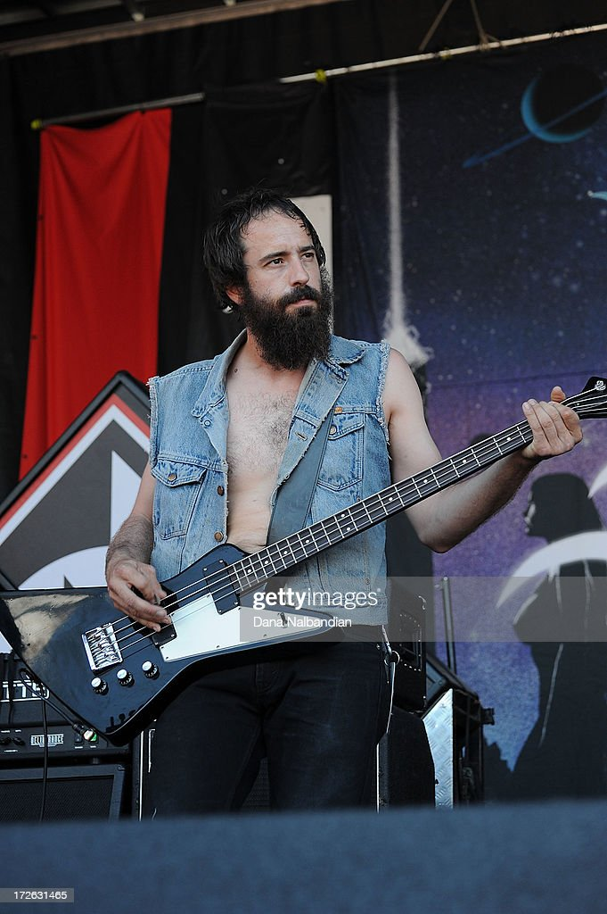 Bass player Ian Alden of Huntress performs at Mayhem Festival on July 3, 2013 in Auburn, Washington.
