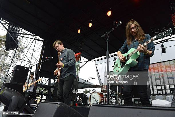 Bass player Kevin Williams singer/guitarist John Paul Pitts and guitarist Thomas Fekete of Surfer Blood perform onstage at the Rose Bowl on February...