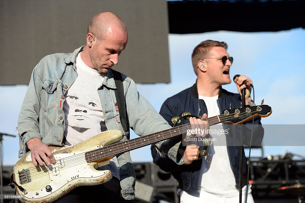 Bass player Matt Maust and singer Nathan Willett of the band Cold War Kids perform onstage during KROQ's Weenie Roast at Irvine Meadows Amphitheatre...