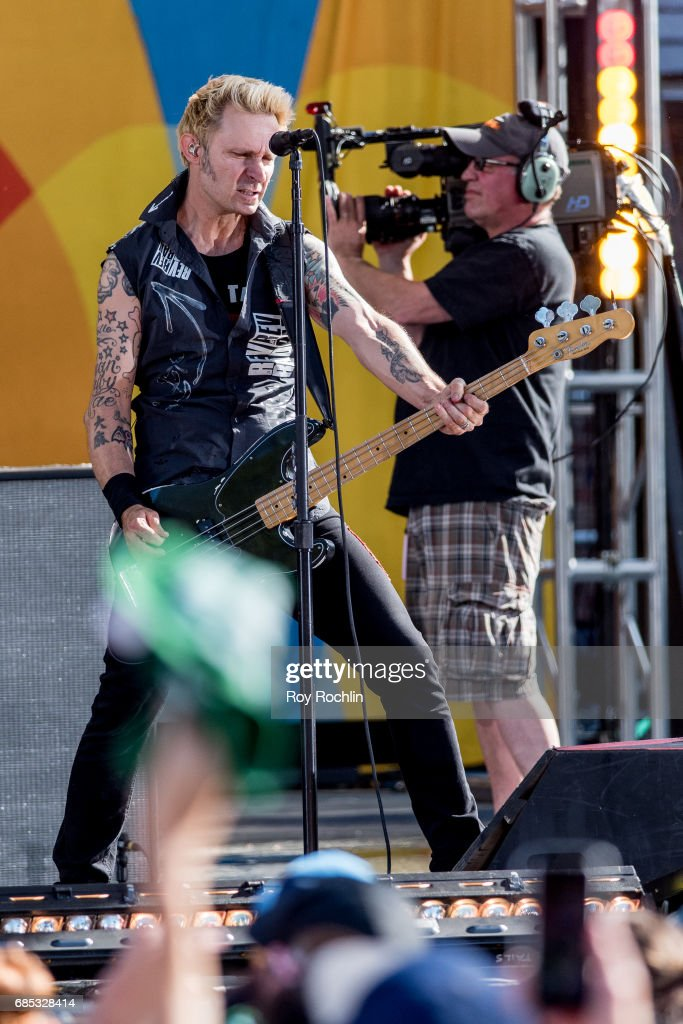 Bass player Mike Dirnt as Green Day perform on ABC's 'Good Morning America' at Central Park on May 19, 2017 in New York City.