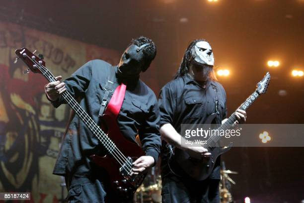 Bass player Paul Gray and Guitar player Mick Thompson of Slipknot perform in concert at The Freeman Coliseum on March 1 2009 in San Antonio Texas