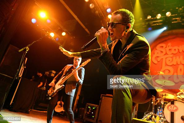 Bass player Robert DeLeo and singer Chester Bennington of Stone Temple Pilots perform onstage at House of Blues Sunset Strip on April 13 2015 in West...