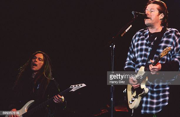 Bass player Timothy B Schmit and guitarist Don Henley play with The Eagles on their 'Hell Freezes Over' tour of 1995 The Eagles were the most popular...
